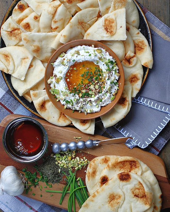 whipped feta dip with honey and pita bread