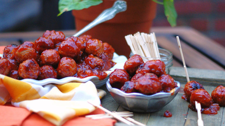 Whiskey Peach BBQ Meatballs