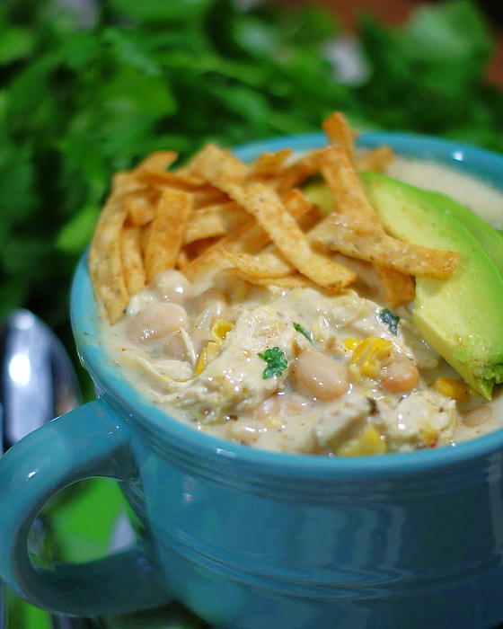Creamy White Chicken Chili made with cream cheese