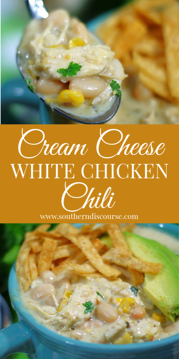 This easy recipe for out of this world white chicken chili is made thick and creamy with cream cheese, creamed corn and salsa verde! Instructions for stove top and crock pot. #withbeans #easyrecipe #easychickenchili
