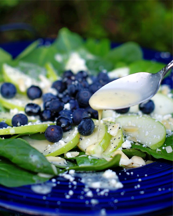 A drizzle of orange poppy seed dressing over blueberry spinach salad