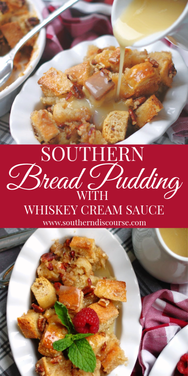 This simple bread pudding recipe makes one of the most delicious, decadent desserts there is!  With a touch of cinnamon, a sprinkle of pecans this New Orleans favorite only gets better with a generous drizzle of rich whiskey cream sauce.  #best #easy
