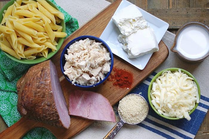 Chicken Cordon Bleu pasta bake ingrdients
