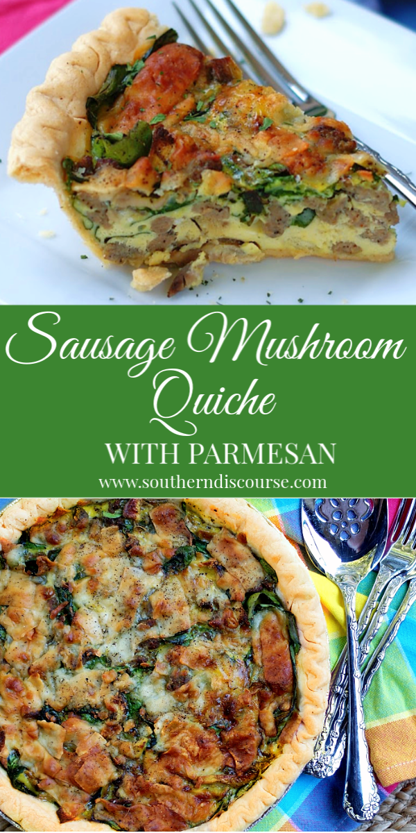 This easy recipe for Sausage Mushroom Quiche bakes up delectable goodness every time! Loaded with Shiitake mushrooms, ground sausage, spinach and sharp Parmesan cheese, this quiche will be your favorite! #breakfast #brunch