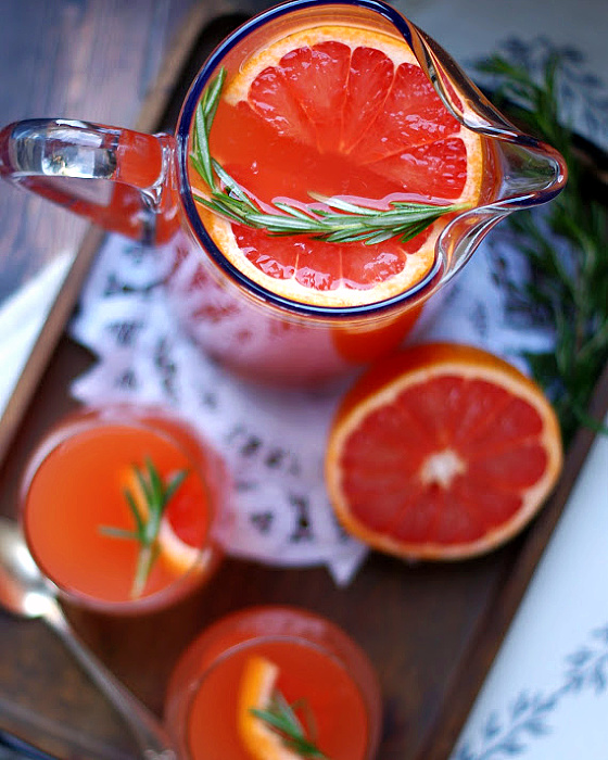 Overhead view of a pitcher of Ruby Grapefruit Punch