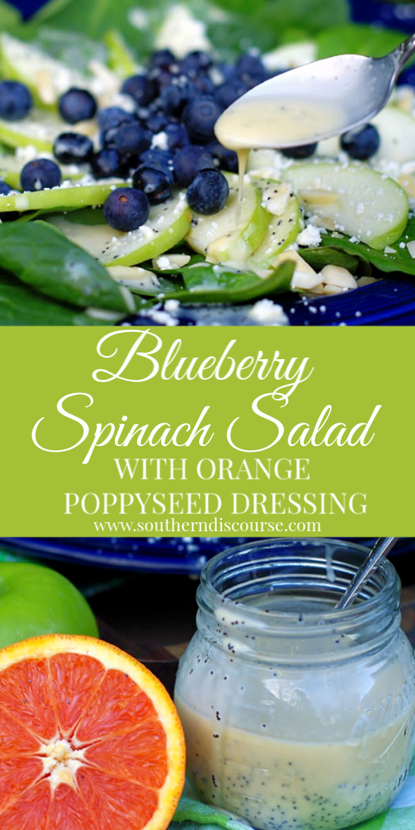 A fresh spinach salad recipe loaded with blueberries, green apples, almonds & feta. Topped with an easy homemade orange poppy seed dressing.