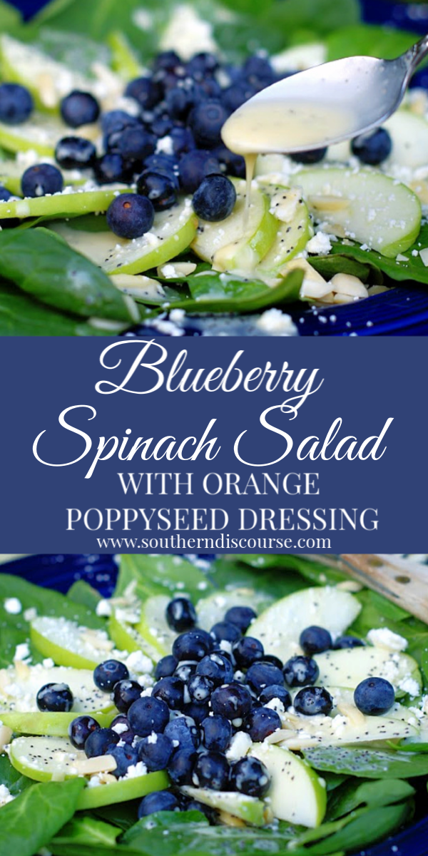A fresh spinach salad recipe loaded with blueberries, green apples, almonds & feta. Topped with an easy homemade orange poppy seed dressing. #