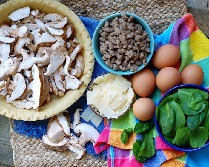 Sausage Mushroom Quiche ingredients