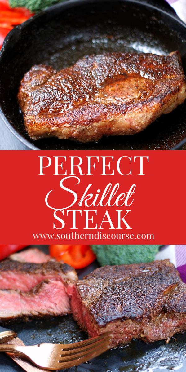 This 3 ingredient easy recipe guarantees the perfect cast iron skillet steak every time!  Easy how to cook on the stove top instructions.  # dinner  #seasonings