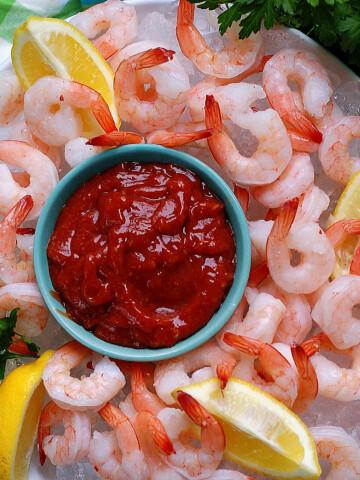 Homemade Shrimp Cocktail Sauce & Platter Title