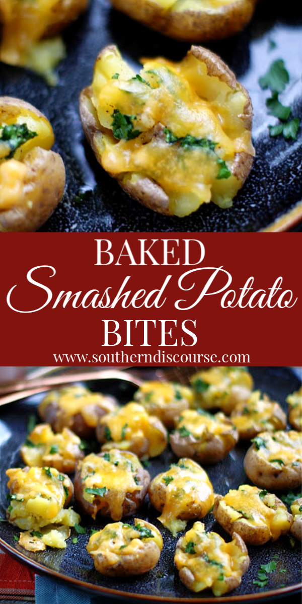 This easy recipe for smashed baby red or gold potatoes is cheesy with crispy edges and skins!  #cheddarcheese #roasted #redpotatoes #yukon