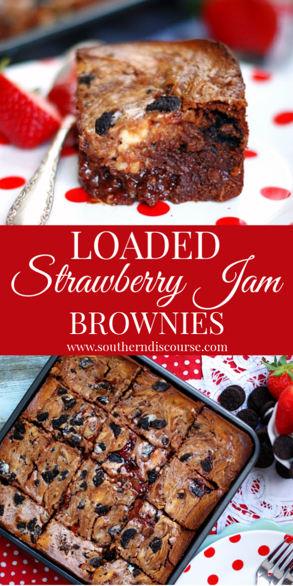 These loaded chocolate strawberry brownies are loaded with strawberry jam, cheesecake & chocolate cookies! Love chocolate covered strawberries? These strawberry jam brownies are for you! #homemade #creamcheese #chocolatechips