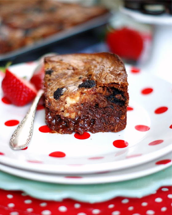 A single loaded strawberry Jam Brownie