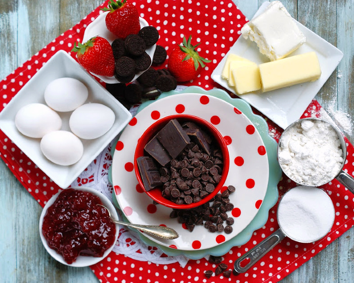 Ingredients to make strawberry jam brownies