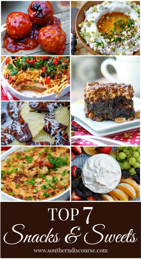 Every party needs delicious snacks & sweets! Enjoy these top 7 recipes! #superbowl #tailgate #shower #party