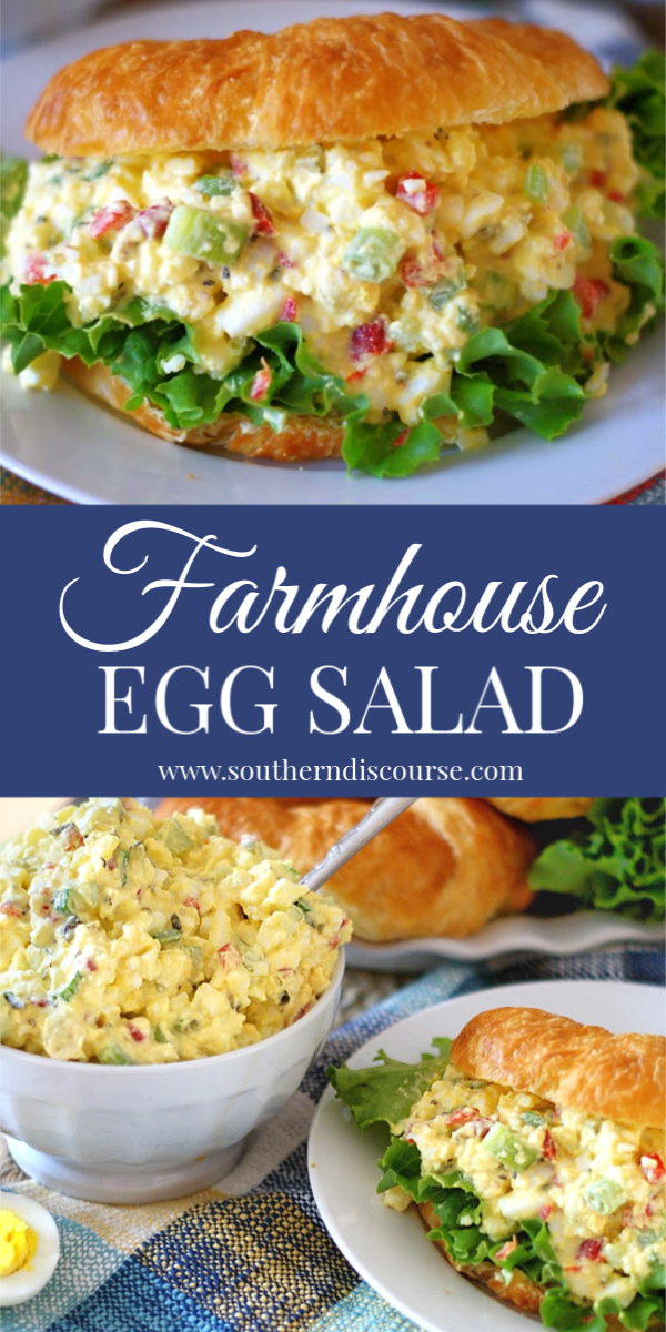 This is THE BEST egg salad recipe! Easy, southern, delicious, this Farmhouse style egg salad has pickle relish, pimentos, celery and green onion. #sandwiches #simple #classic