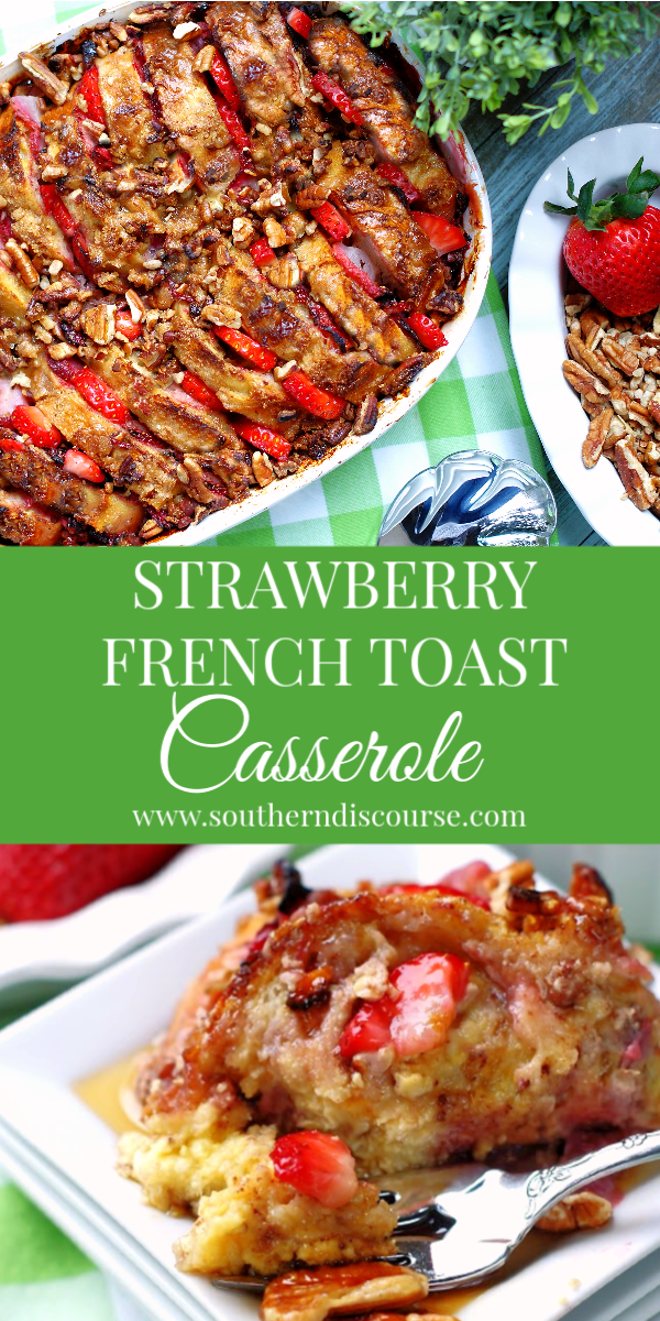 This easy french toast bake is loaded with sweet, delicious strawberries and pecans. A perfect family breakfast or brunch casserole that can be made overnight or the same day! #frenchtoastbake #breakfastcasserole #overnightbreakfastcasserole #makeaheadbreakfast #strawberryrecipes