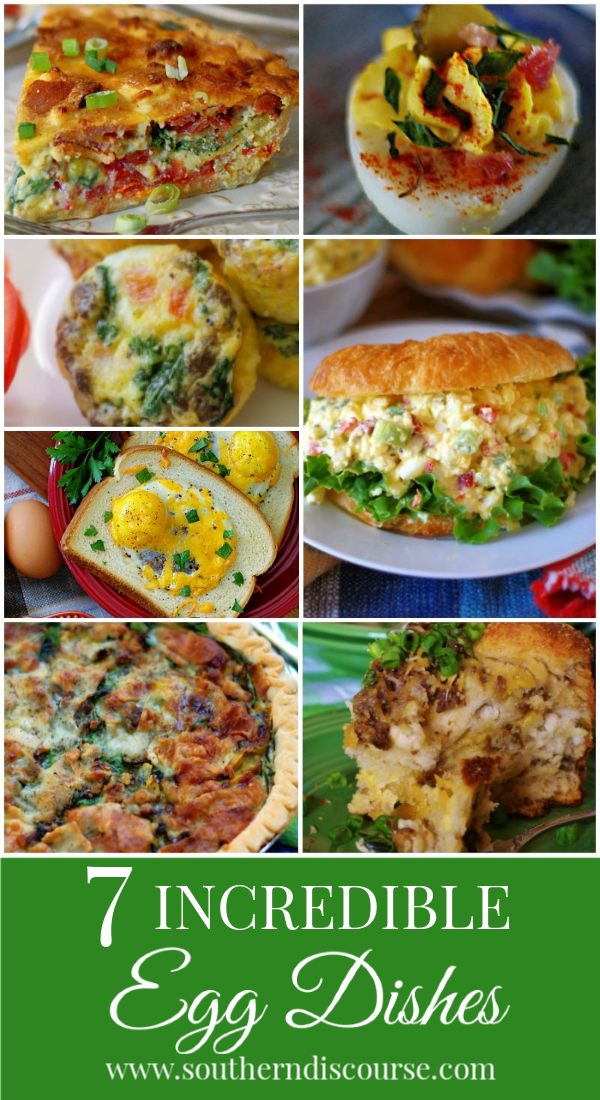 Eggs are a wonderfully healthy choice for breakfast, lunch or dinner. Enjoy these 7 incredible egg dishes any time of the day! #quiche #brunch #eggsalad #deviledeggs #eggmuffins #eggsinabasket