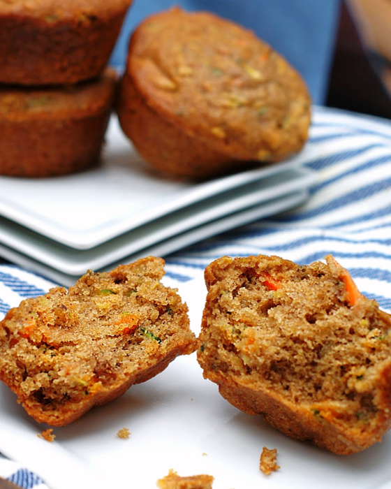 The best zucchini carrot muffin cut in half