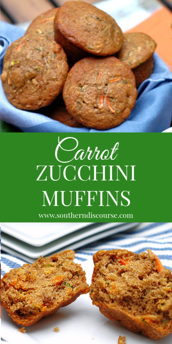 Loaded with shredded zucchini, carrots and crunchy walnuts, these lightly sweet & cinnamon-y Carrot Zucchini Muffins are the perfect go-to for breakfast or afternoon snack! #soft #moist #best