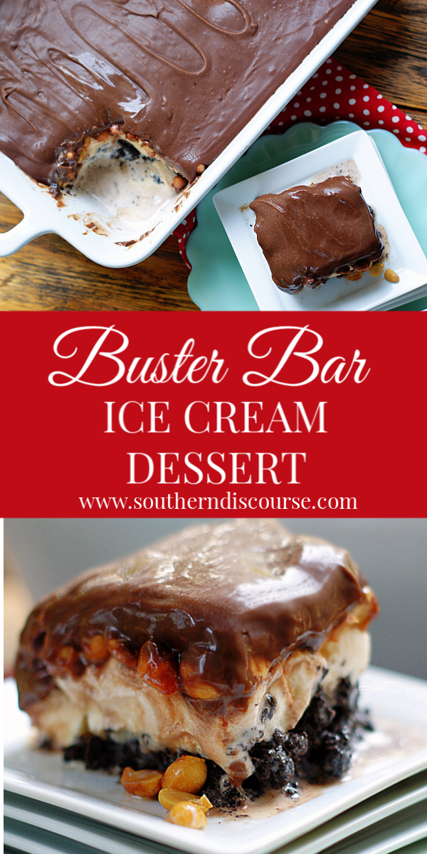 Loaded with salted peanuts and layer of vanilla ice cream on an easy homemade Oreo crust and topped with the best fudgey chocolate topping you've ever tasted, this homemade, family-sized take on Dairy Queen's Buster Bar is one of those summer treats that is just knock-your-socks off good. #Icecreamdessert #potluck #cookout