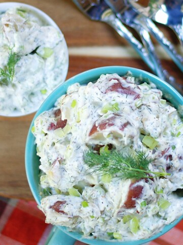 creamy dill potato salad made with red potatoes and sour cream