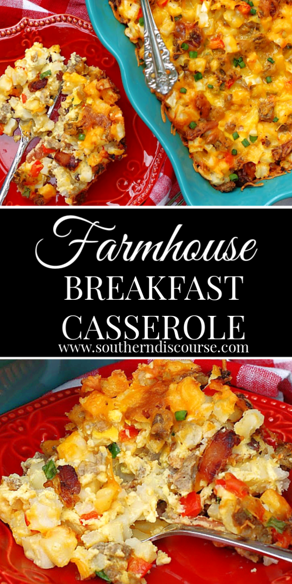 An easy breakfast casserole loaded with hash browns, eggs, sausage, bacon and cheese - all the hearty breakfast goodness! #breakfastcasserolerecipes #Hashbrownbreakfastcasserole #best