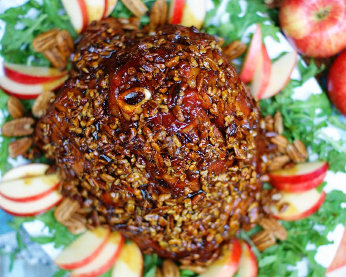 Easy Southern Pecan Crusted Ham plated with apples and pecans