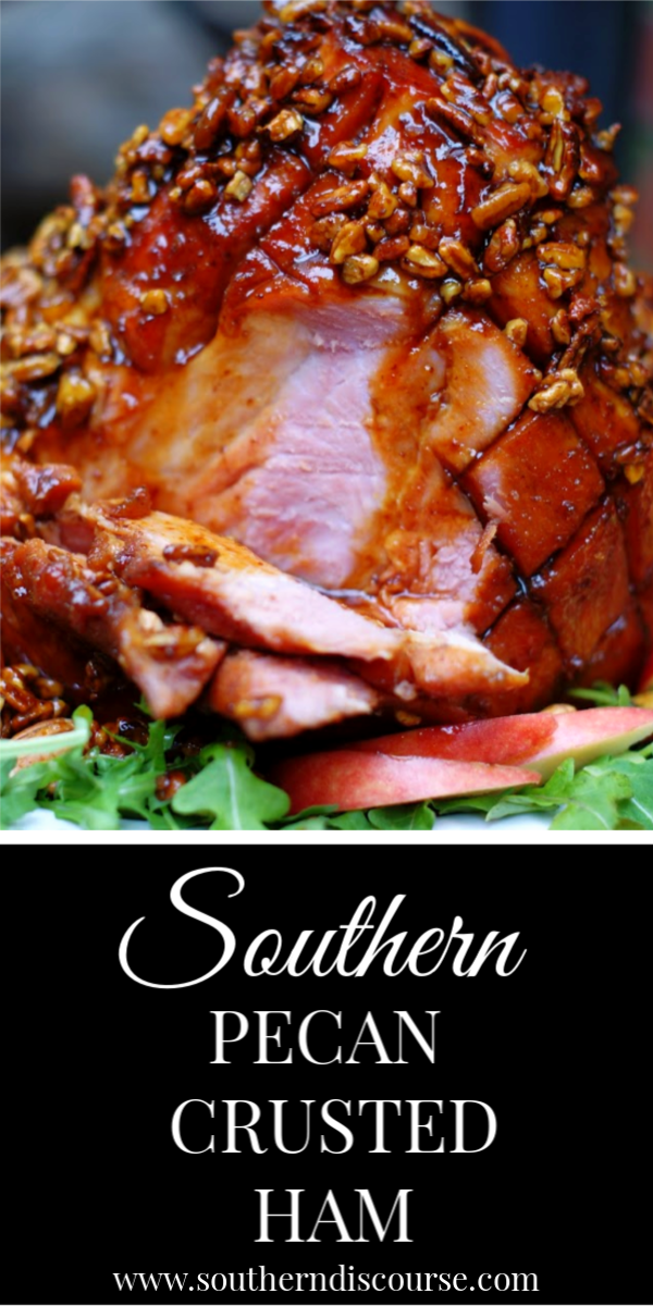 Easy Southern Pecan Crusted Ham bakes up golden brown with a brown sugar, molasses and apple juice glaze. Savory, sweet and holiday perfect! #familydinner #Easter #hamrecipes #Bonein