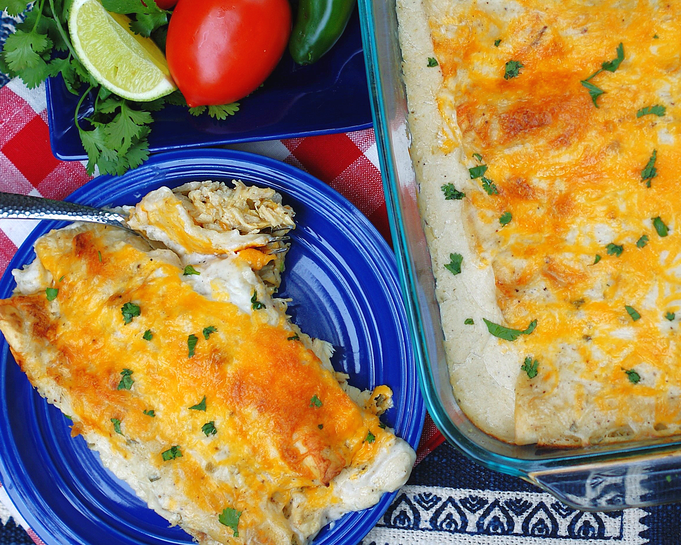 How to serve hand rolled sour cream chicken enchiladas
