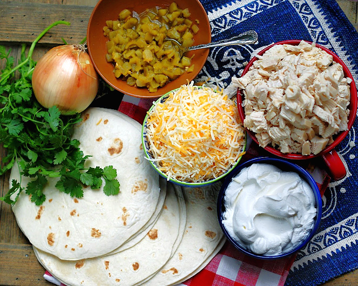Ingredients to make authentic sour cream chicken enchiladas