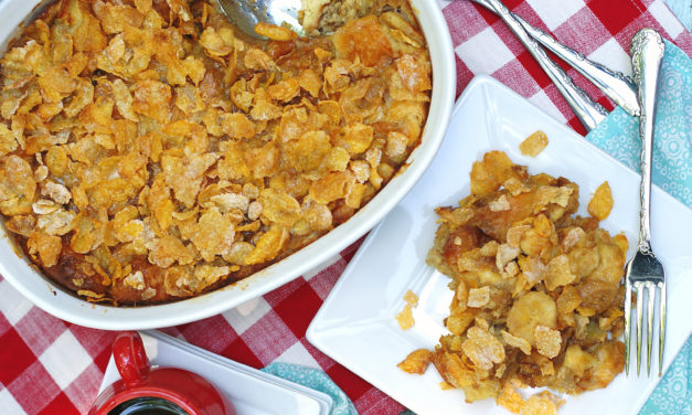 Banana French Toast Bake with Frosted Flakes Topping