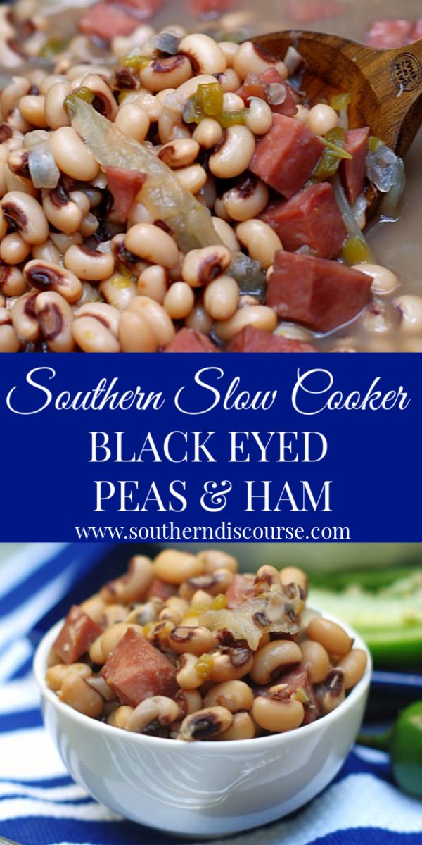 This easy, no-soak, crock pot recipe delivers THE BEST Southern Black Eyed Peas & Ham with a deliciously subtle jalapeno kick! #southernrecipes #crockpotrecipes #blackeyedpeas