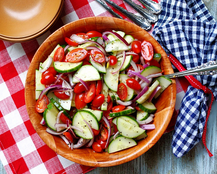 Tomato Cucumber Salad with red onions and vinegar dressing