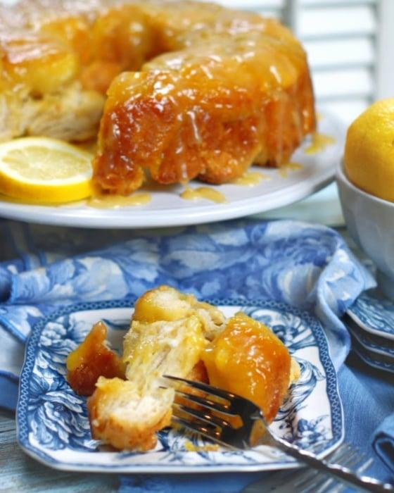 Easy Lemon Monkey Bread recipe with lemon curd glaze