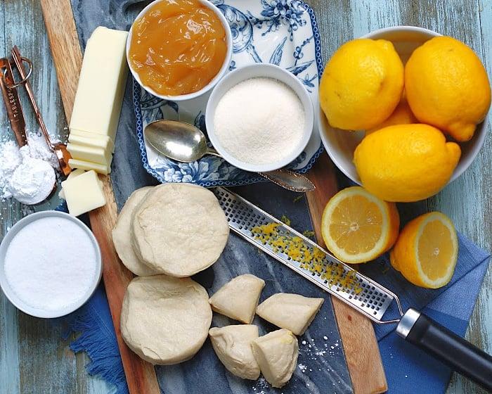 Ingredients for Easy Lemon Monkey Bread recipe with lemon glaze
