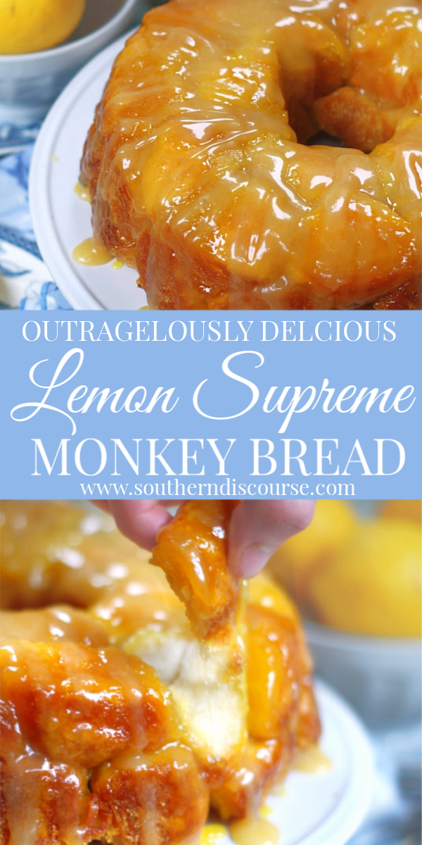 Enjoy bold lemony flavor with this easy Lemon Monkey Bread recipe with rich lemon curd glaze. Outrageously delicious, moist and full of lemon flavor! #lemondessertrecipes #monkeybread #lemonbread
