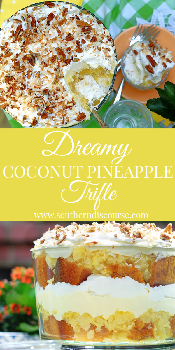 Easy Coconut Pineapple trifle dessert recipe with crushed pineapple, yellow cake, cream cheese, vanilla pudding & whipped topping. #pineappledessert #pineapplelush #pineapplecake
