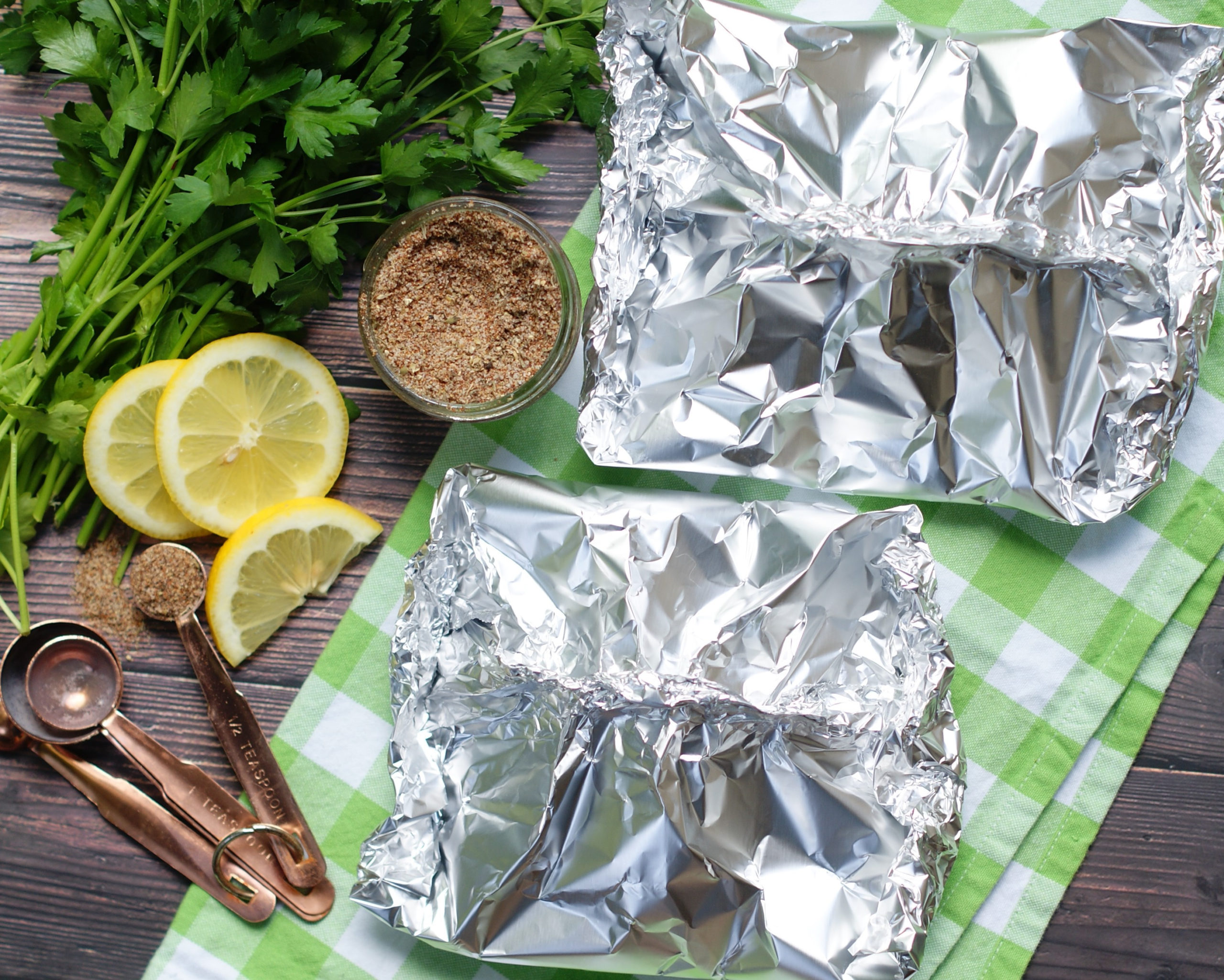 Process to make Easy Cajun/ Creole Spicy Shrimp Foil Packets for the oven or grill