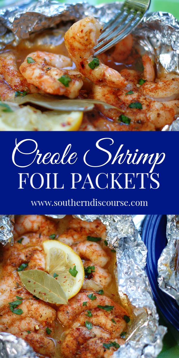 asy Cajun/ Creole Spicy Shrimp Foil Packets for the oven or grill. #foilpacketrecipes #shrimprecipes #cajunshrimp #shrimpscampi