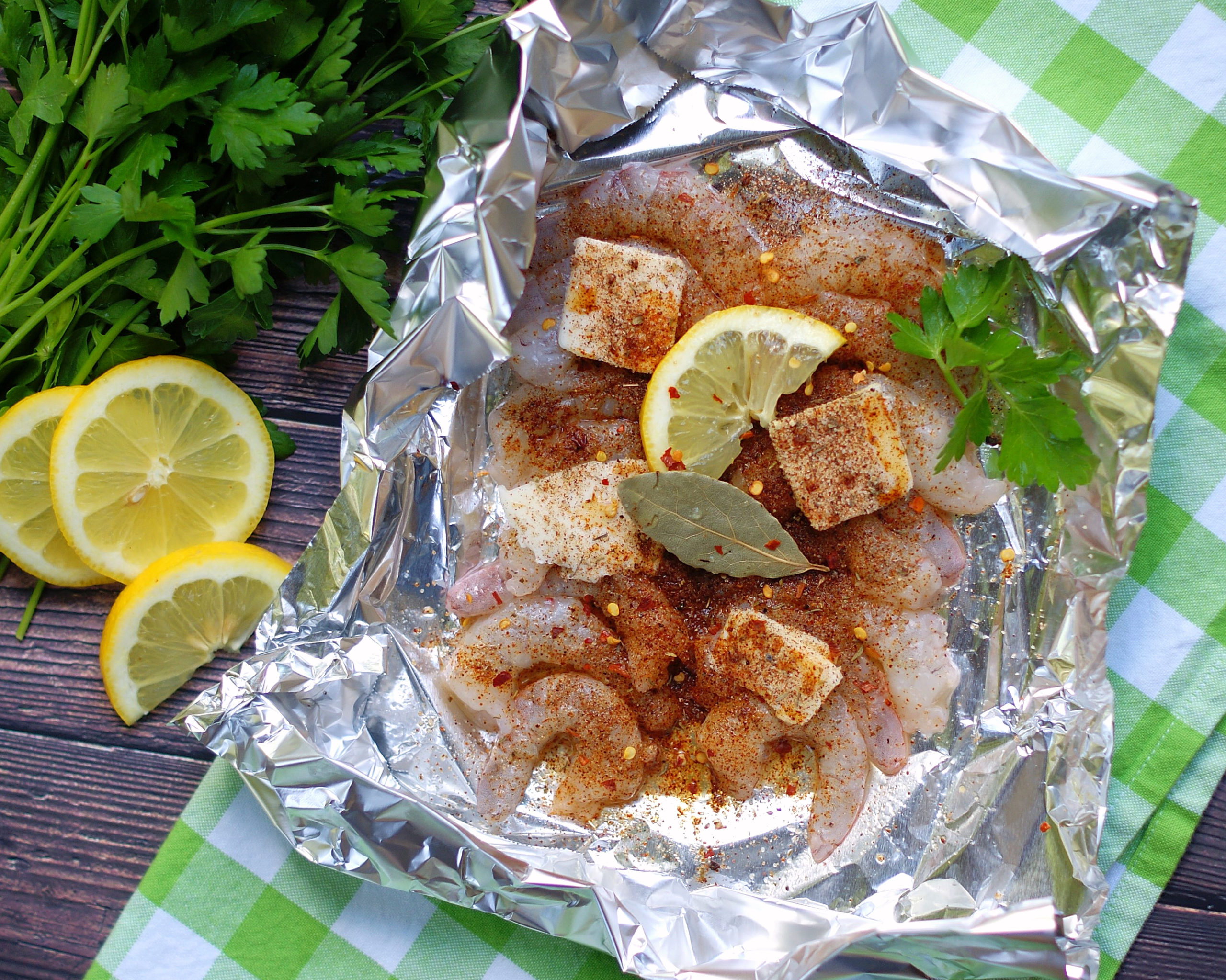 ingredients for Easy Cajun/ Creole Spicy Shrimp Foil Packets for the oven or grill