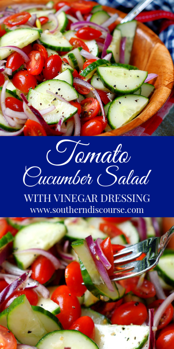 Light & refreshing, this simple tomato cucumber salad with slivers of red onion and a lightly sweet and tangy vinegar dressing is perfect for picnics, cookouts, potlucks and just about any meal! #cucumbersalad #tomatosalad #vinegardressing #summersidedish