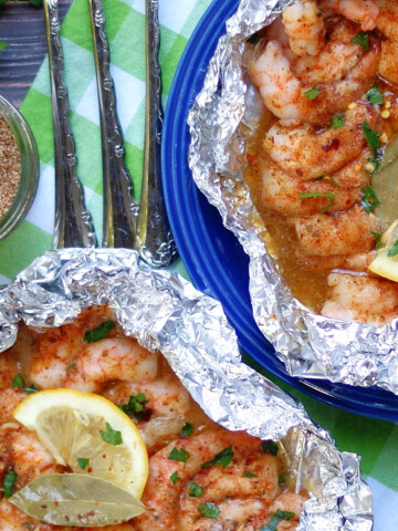 Easy Cajun/ Creole Spicy Shrimp Foil Packets for the oven or grill