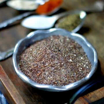 Smoky Sweet Coffee Rub mixed in silver bowl