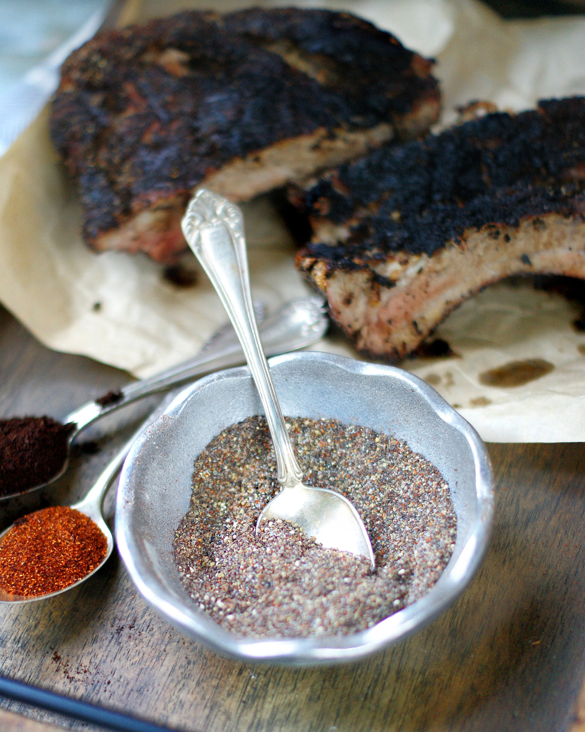 Smoky Sweet Coffee Rub for beef & pork in a silver bowl