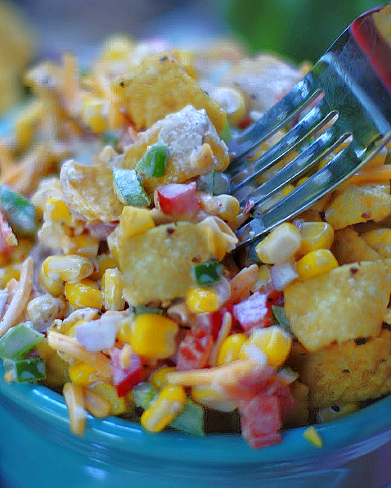Frito Corn Salad with fork