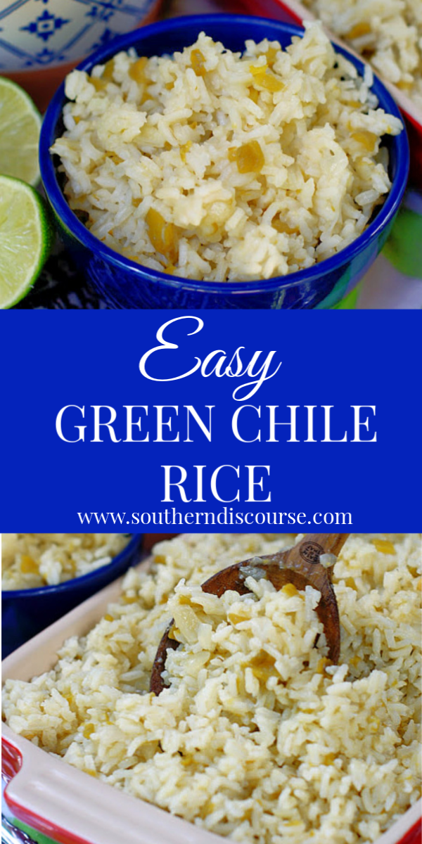 This Easy Green Chile Rice is richly savory and simmered to perfection in chicken broth with diced chiles, onions and just a little butter. This simple rice recipe delivers loads of flavor and is the the perfect side dish to serve with your best Mexican eats. #ricedish #ricesidedish #easysidedish #mexicansidedish