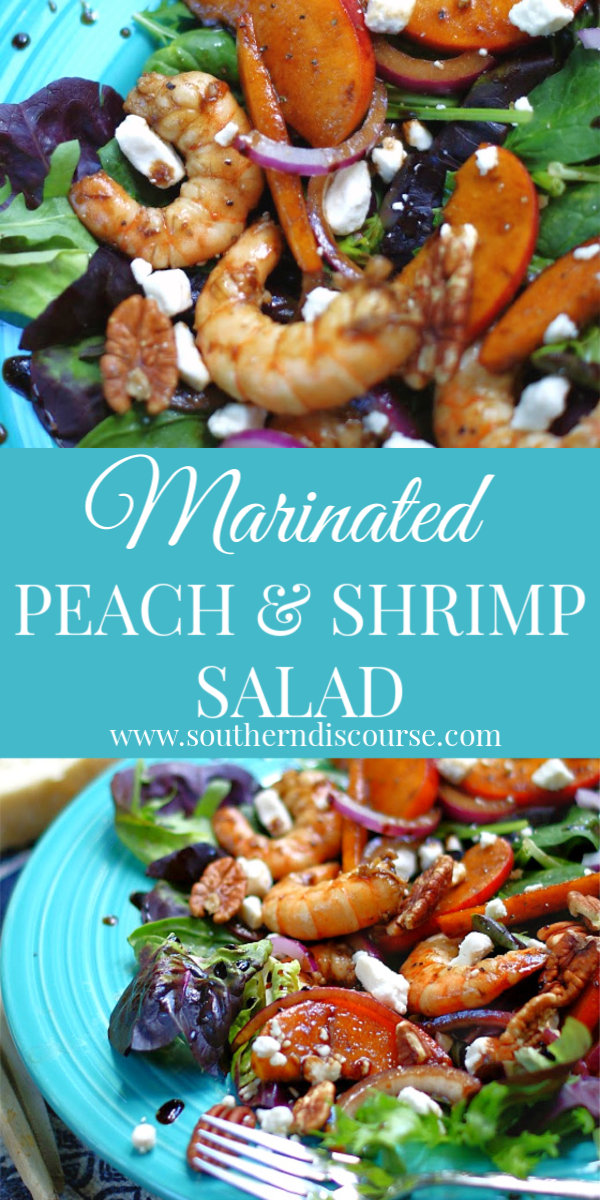 Enjoy a wonderfully delicious summer dinner salad of plump shrimp, juicy marinated peaches & red onion, goat cheese & pecans drizzled with a honey balsamic dressing. #Dinnersaladrecipes #peachsalad #shrimpandpeach #summermeal