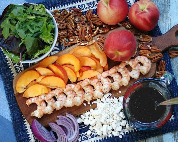 Marinated Peach & Shrimp Salad Ingredients