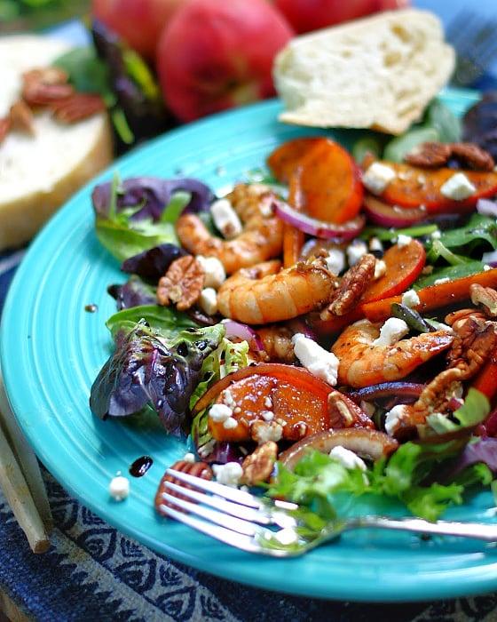 Marinated Peach & Shrimp Salad